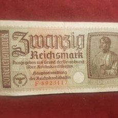 Billetes extranjeros: ALEMANIA. III REICH. TERRITORIOS OCUPADOS. 20 REICHSMARK 1940-45. Lote 270641413