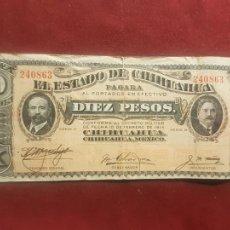 Billetes extranjeros: MEXICO REVOLUCIONARIO 10 PESOS 1914. Lote 270641673