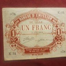 Billetes extranjeros: LILLE, FRANCIA. 1 FRANC. CHAMBRES DE COMMERCE. CÁMARAS DE COMERCIO. Lote 270642203