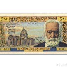 Billetes extranjeros: [#22875] BILLETE, FRANCIA, 5 NOUVEAUX FRANCS, 5 NF 1959-1965 ''VICTOR HUGO'', 1965. Lote 271034263
