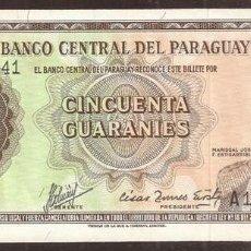 Billets internationaux: PARAGUAY. 50 GUARANTIES L.1952. PICK 197B.. Lote 271097043