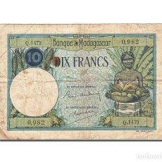 Billetes extranjeros: [#262725] BILLETE, 10 FRANCS, 1937-1947, MADAGASCAR, KM:36, UNDATED, BC+. Lote 271620478