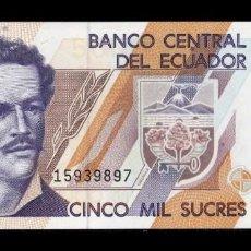 Banconote internazionali: ECUADOR 5000 SUCRES JUAN MONTALVO 26.03.1999 PICK 128C SERIE AÑ SC UNC. Lote 273915348