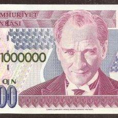 Billetes extranjeros: TURQUIA. 1000000 LIRA L.1970 (1995). PICK 209B. SERIE M. Lote 274252123