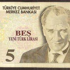 Billetes extranjeros: TURQUIA. 5 LIRAS NUEVAS 2005. PICK 217. SERIE D.. Lote 274252208
