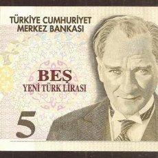 Billetes extranjeros: TURQUIA. 5 LIRAS NUEVAS 2005. PICK 217. SERIE C.. Lote 274252223