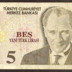 Billetes extranjeros: TURQUIA. 5 LIRAS NUEVAS 2005. PICK 217. SERIE C.. Lote 274252248