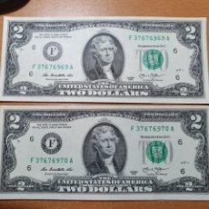 Billetes extranjeros: 2 BILLETE 2 DÓLARES LETRA F 2013 CORRELATIVOS. Lote 293676288