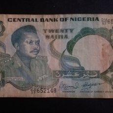Billetes extranjeros: BILLETE NIGERIA 20 NAIRA. Lote 274664198