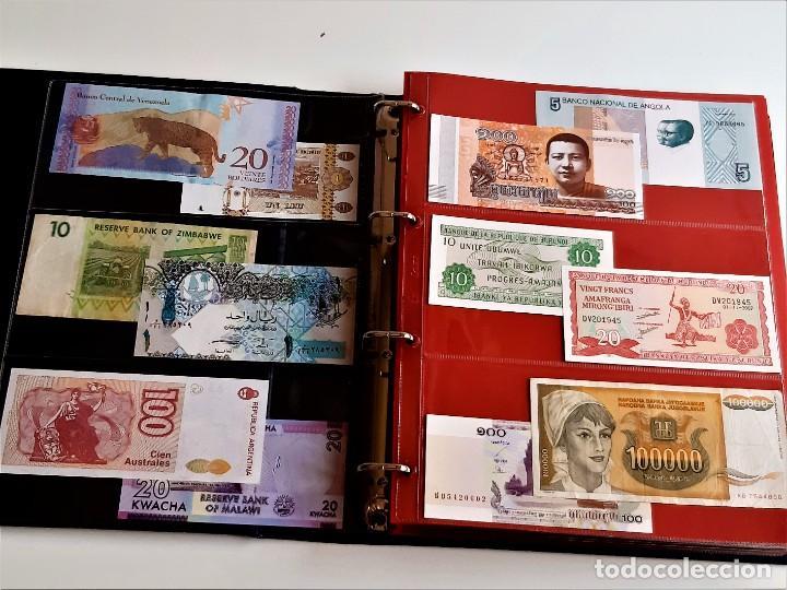 Billetes extranjeros: ALBUM CON 174 BILLETES ORIGINALES VARIOS DEL MUNDO - Foto 3 - 275096853