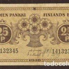 Billetes extranjeros: FINLANDIA. 25 PENNIÄ 1918. PICK 33. VARIANTE DE FIRMAS.. Lote 275152833