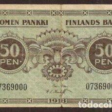 Billetes extranjeros: FINLANDIA. 50 PENNIÄ 1918. PICK 34. VARIANTE DE FIRMAS.. Lote 275152918