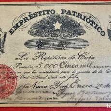 Billetes extranjeros: BILLETE EMPRESTITO PATRIOTICO 5000 PESOS CUBA NEW YORK 1854 GUERRA INDEPENDENCIA ORIGINAL. Lote 275930418