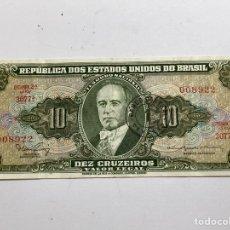Billetes extranjeros: BILLETE EU DE BRASIL 10 CRUZEIROS 1962. Lote 276259773