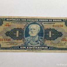 Billetes extranjeros: BILLETE EU DE BRASIL 1 CRUZEIROS 1954. Lote 276266383