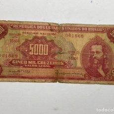 Billetes extranjeros: BILLETE EU DE BRASIL 5000 CRUZEIROS 1954. Lote 276275418