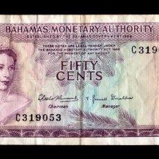 Billetes extranjeros: BAHAMAS 1/2 DOLLAR ELIZABETH II L.1968 PICK 26 BC/MBC F/VF. Lote 277132908