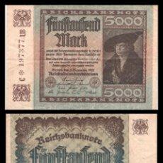 Billetes extranjeros: ALEMANIA 5000 MARCOS 1922 PIK 81 MBC. Lote 277172138