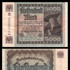 Billetes extranjeros: ALEMANIA 5000 MARCOS 1922 PIK 81 MBC. Lote 277172813