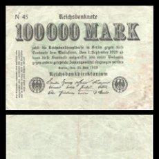 Billetes extranjeros: ALEMANIA 100000 MARCOS 1923 PIK 91A MBC. Lote 277176948