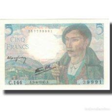Billetes extranjeros: [#805769] FRANCIA, 5 FRANCS, BERGER, 1945, 1945-04-05, SC, FAYETTE:5.6, KM:98A. Lote 277308343