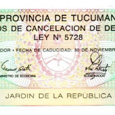 Billetes extranjeros: BILLETE BONO DE LA PROVINCIA DE TUCUMAN EN BUEN ESTADO. Lote 277421003