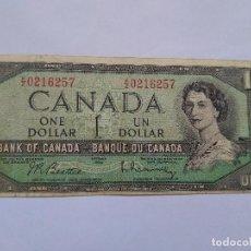 Billetes extranjeros: BILLETE 1 DÓLAR CANADIENSE 1954. Lote 278235033