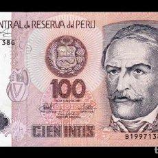 Billetes extranjeros: PERÚ 100 INTIS 1987 PICK 133 SC UNC. Lote 278347638