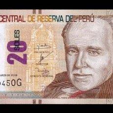 Billetes extranjeros: PERÚ 20 SOLES 2016 PICK 193A SC UNC. Lote 278349508