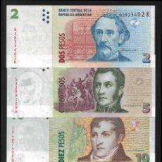 Billetes extranjeros: ARGENTINA SET 4 PCS 2 5 10 20 PESOS 2010 2018 P 352 353 354 355 SC / UNC. Lote 278350088