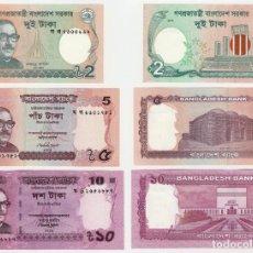 Billetes extranjeros: BANGLADESH SET 2 5 10 TAKA 2015 2017 P NEW DATE UNC. Lote 278350423
