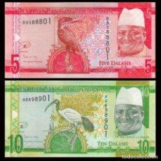 Billetes extranjeros: GAMBIA SET 2 PCS 5 10 DALASIS 2015 P 31 32 SC / UNC. Lote 278351068