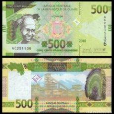Billetes extranjeros: GUINEA 500 FRANCS 2018 P NEW DESIGN UNC. Lote 278351648