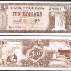 Billetes extranjeros: GUYANA 10 DOLLARS 1992 P 23F UNC. Lote 278351748