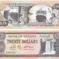 Billetes extranjeros: GUYANA 20 DOLLARS 2018 P 30 NEW SIGN UNC. Lote 278351943