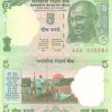 Billetes extranjeros: INDIA 5 RUPEES 2010 P 94AC UNC. Lote 278436998