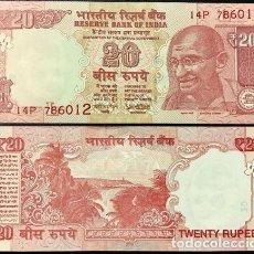 Billetes extranjeros: INDIA 20 RUPEES 2018 P 103 NEW DATE UNC. Lote 278437058