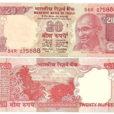 Billetes extranjeros: INDIA 20 RUPEES 2017 P 103Z LETTER R UNC. Lote 278437118