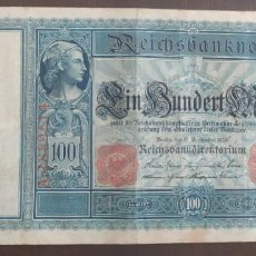 Billetes extranjeros: ALEMANIA 100 MARCOS 1909 SERIE A (MBC+) PICK 38. Lote 278448403