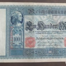 Billetes extranjeros: ALEMANIA 100 MARCOS 1908 (MBC-) PICK 35. Lote 278448578