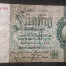Billets internationaux: ALEMANIA 50 MARCOS 1933 ,50 REICHSMARK ( MBC). Lote 278492283