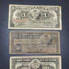Billetes extranjeros: 3 BILLETES DEL BANCO ESPAÑOL EN LA ISLA DE CUBA. Lote 280129898