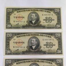 Billetes extranjeros: LOTE DE 3 BILLETES DE 20 PESOS 1960 FIRMADOS POR EL CHE EN CONDICIÓN UNC Y CONSECUTIVOS. Lote 280830168
