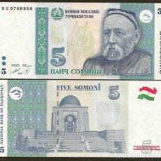 Billetes extranjeros: TAJIKISTAN. 5 SOMONI 1999(2000). PICK 15. S/C.. Lote 293895243