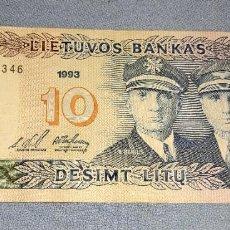 Billetes extranjeros: ANTIGUO Y EXCASO BILLETE DE LITUANIA VALOR 10 AÑO 1993 EN MUY BUEN ESTADO DE CONSERVACION. Lote 285229798