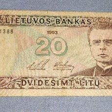 Billetes extranjeros: ANTIGUO Y EXCASO BILLETE DE LITUANIA VALOR 20 AÑO 1993 EN MUY BUEN ESTADO DE CONSERVACION. Lote 285230113