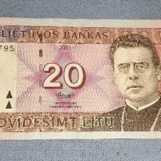 Billetes extranjeros: ANTIGUO Y EXCASO BILLETE DE LITUANIA VALOR 20 AÑO 2001 EN MUY BUEN ESTADO DE CONSERVACION. Lote 285230343