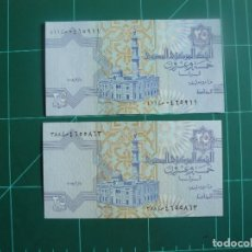 Billetes extranjeros: LOTE DE 2 BILLETES DE EGIPTO 25 PIASTRAS 2007 Y 2008 SC. Lote 285650208