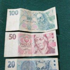 Billetes extranjeros: ANTIGUOS BILETES REPÚBLICA CHECA. Lote 286573008