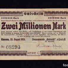 Billetes extranjeros: ALEMANIA - 2.000.000 MARCOS DE 1923 - VER FOTO. Lote 287229703